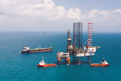Offshore oil rig drilling platform. / in the gulf of Thailand Royalty Free Stock Photography