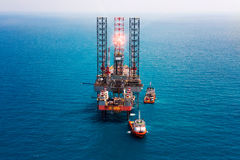 Offshore oil rig drilling platform. / in the gulf of Thailand Stock Image