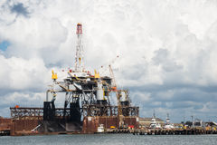 Offshore Oil Rig in Dry Dock Stock Photos