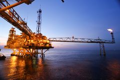 Offshore Oil Rig in The Middle of The Sea Stock Photography