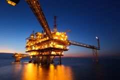 Offshore Oil Rig in The Middle of The Sea Stock Images
