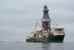 Offshore oil rig in Namibia Stock Photo