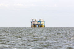 Offshore oil rig near Harlingen, Nederlande Royalty Free Stock Photo