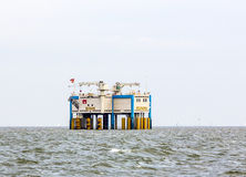 Offshore oil rig near Harlingen, Nederlande Royalty Free Stock Photography
