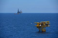 The offshore oil rig and remote platform. In the gulf of Thailand Stock Photo