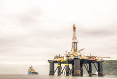 Offshore oil rig in Scotland. View on offshore oil rig in Scotland Royalty Free Stock Photos