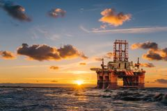 Offshore oil rig at sunset. Tenerife,Spain royalty free stock photo