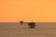 Offshore platform in the middle of the ocean Royalty Free Stock Photo