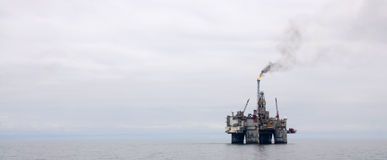 Offshore Platform and Vessel. Oil and Gas. Offshore Platform together with Seismic Survey Vessels and Offshore Supply ships Stock Photography