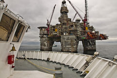 Offshore Platform and Vessel. Oil and Gas. Royalty Free Stock Photos