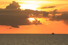 Offshore Production Platform in Sunset Time Stock Photos
