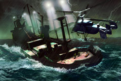 Offshore rescue. In the middle of a terrible storm, an helicopter flies over a big ship, coming to the rescue of a wounded or sick passenger vector illustration