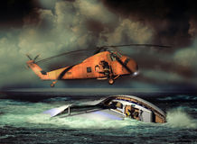 Offshore rescue. In the middle of a storm, an helicopter flies over a sailboat, coming to the rescue of its passengers stock illustration