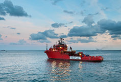 Offshore rescue vessel sailing out Stock Images