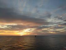 Tarpon small oil platform at miri Sarawak. Offshore sarawak tarpon platform oil and gas sunset Royalty Free Stock Images