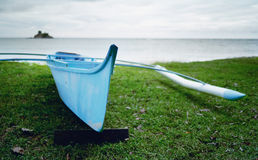 Offshore small blue boat fisherman royalty free stock photo