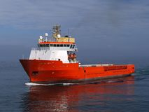 Offshore Supply Ship 14b. Offshore Supply Ship underway at sea over blue Stock Image