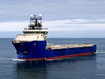 Offshore Supply Ship J. Offshore Supply Vessel underway at sea to offshore facility Stock Photography