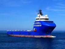 Offshore Supply Ship L. Offshore Supply Vessel underway at sea to offshore facility Stock Images