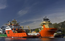 Offshore supply ships Stock Photos