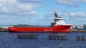 Offshore tug/supply ship Volstad Supplier. Edinburgh, Scotland, United Kingdom - April 27, 2017: Offshore tug/supply ship Volstad Supplier lies in the harbor of Stock Photo