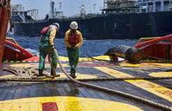 Offshore vessel crew working on deck Stock Image