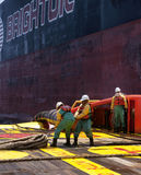 Offshore vessel crew working on deck. Ship crew working on deck during hose lifting operation at sea stock photography