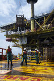 Offshore vessel crew working on deck Stock Photography