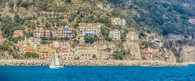 Offshore view along the Amalfi Coast Italy royalty free stock photography