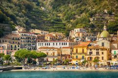 Offshore view of Maiori on the Amalfi Coast, Italy royalty free stock photography