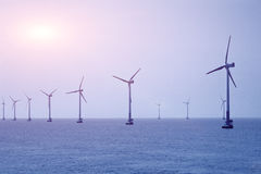Offshore wind energy. Construction of wind power at sea Royalty Free Stock Photos
