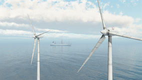 Offshore wind farm and cargo ship Stock Image