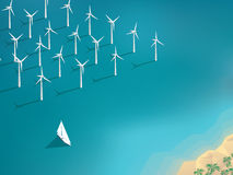 Offshore wind farm concept. Ecological background Royalty Free Stock Image