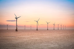 offshore wind farm at dusk in the east China sea Royalty Free Stock Images