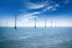 offshore wind farm at dusk in the east China sea Royalty Free Stock Photos