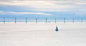 Offshore wind farm at early morning Royalty Free Stock Photo