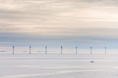 Offshore wind farm at early morning Stock Images