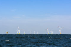 Offshore wind farm with substation Royalty Free Stock Photography