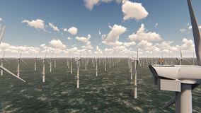 Offshore wind farm, windmill stock video footage