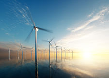 Offshore wind park at daybreak Stock Image