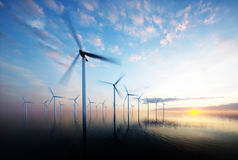 Offshore wind park at daybreak Royalty Free Stock Images