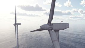 Offshore wind power. Computer generated 3D illustration with offshore wind turbines Stock Photo