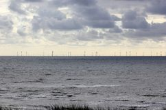Offshore wind power. North Sea, the Netherlands. Royalty Free Stock Images