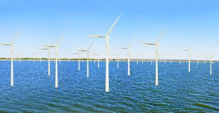 Offshore wind power plant Stock Images