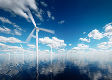 Offshore wind power plants with calm afternoon partly cloudy sky Royalty Free Stock Photos