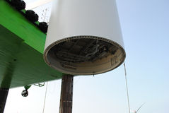 Offshore wind turbine detail Royalty Free Stock Images