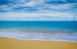 Offshore Wind Turbine in a Wind farm under construction Stock Image
