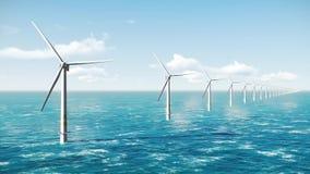 Offshore wind turbines. Green energy. Offshore wind turbine in the ocean. Wind farm as alternative green energy generation stock video