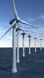 Offshore wind turbines in portrait Royalty Free Stock Images