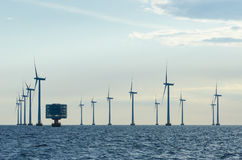 Offshore windfarm Lillgrund. Lillgrund Offshore Wind Farm is located about 10 km off the coast of southern Sweden, just south of the Öresund Bridge. Lillgrund Stock Photo